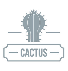 decoration cactus logo simple gray style vector image
