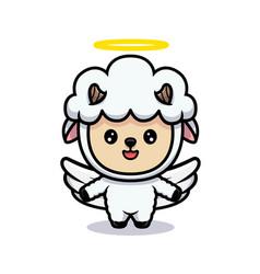 Design cute sheep angel vector