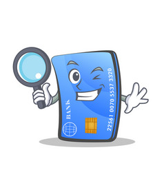 Detective credit card character cartoon vector