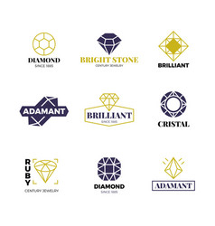 Diamond logost abstract luxury labels with vector
