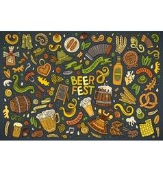 Doodle cartoon set of Oktoberfest objects vector