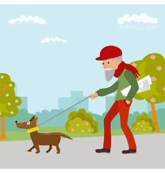 Elderly man walking with his dog in the park vector