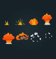 Explosion animation icon set vector