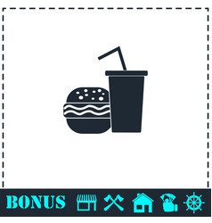 fast food icon flat vector image