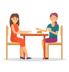 Female friends eating cake and drinking coffee vector