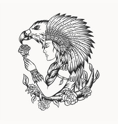 Female native american eagle vector