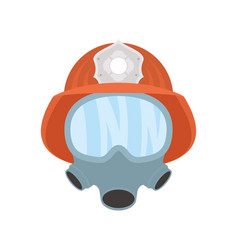 Firefighter helmet with mask flat style icon vector
