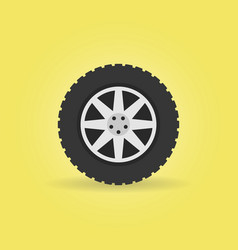 flat car wheel with tire icon on yellow vector image