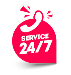 flat twenty four seven service label with phone vector image