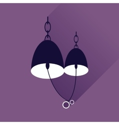Flat web icon with long shadow Bells wedding rings vector