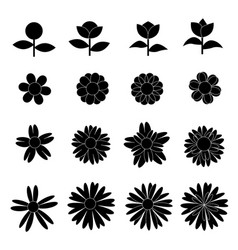 flower icon collection on white background vector image