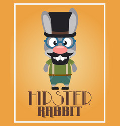 funny hipster rabbit vector image