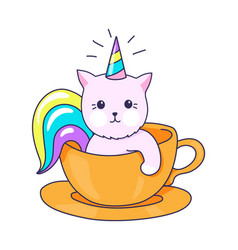 Funny kitty character kitten with rainbow horn vector