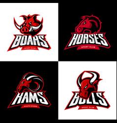 furious boar horse ram bull head isolated vector image