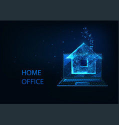 futuristic home office concept with glowing low vector image