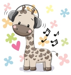 Giraffe with headphones vector
