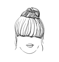 Girl with messy bun vector