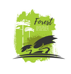 green forest trees eco poster vector image