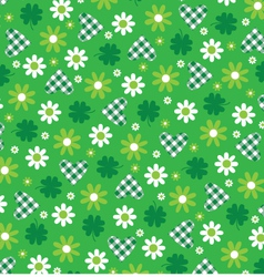 Green hearts and flowers vector