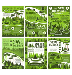 Green tree landscape ecology and environment vector