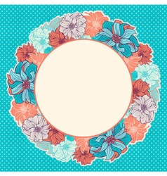 Greeting card with wreath of hand-drawn flowers vector image