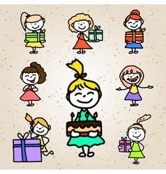 Hand drawing cartoon birthday vector