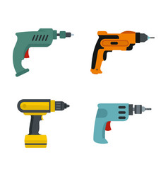 hand drill icon set flat style vector image