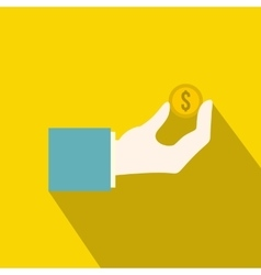 Hand holding the money coin icon flat style vector image