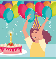 happy birthday woman with cake candle and vector image