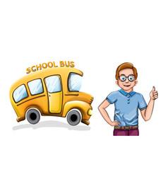 happy boy and school bus funny cartoon vector image