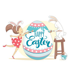 happy easter greeting card girl and rabbit vector image