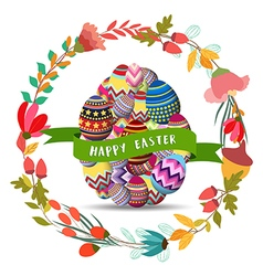 Happy easterFloral Frame Cute flowers arranged un vector