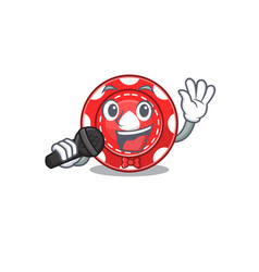 Happy gambling chips singing on a microphone vector