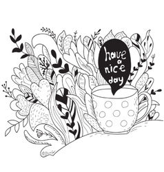 Have a nice day Autumn doodle - coloring book vector