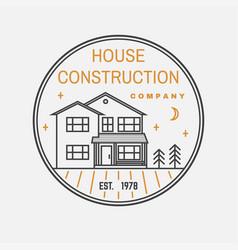 house construction company identity with suburban vector image