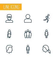 human icons line style set with jogging personal vector image