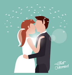 just married kissing couple confetti vector image