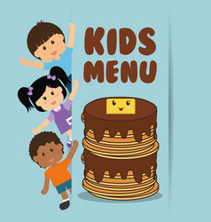 Kids menu - children and pancake with syrup butter vector