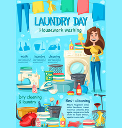 laundry household and housekeeping poster vector image