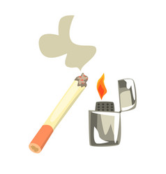 Lighter and burning cigarette colorful cartoon vector