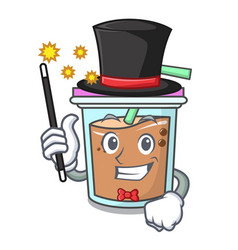 Magician bubble tea mascot cartoon vector