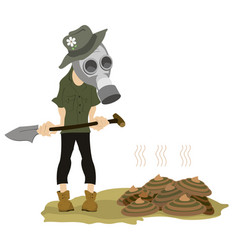 Man in the gas mask spade and dunghill vector