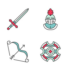 medieval color icons set vector image