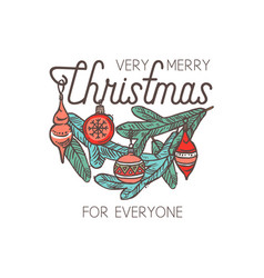merry christmas linear emblem with typograp vector image