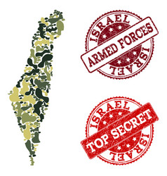 military camouflage composition of map of israel vector image