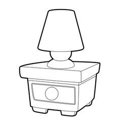 Night lamp on the nightstand icon outline style vector