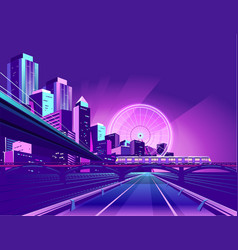 night neon city vector image