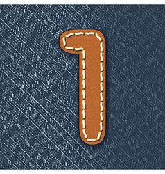 Number 1 made from leather on jeans background vector