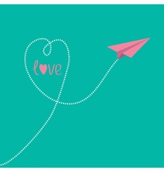 Origami pink paper plane with dash heart in the vector image