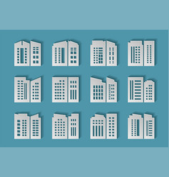 Paper cut company and buildings set on background vector
